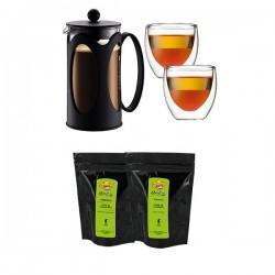 Kenya Set BODUM - Cafetière à piston + 2 verres + 2 sachets de café moulu
