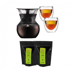 Pour Over Slow Coffee - Cafetière Slow Coffee + 2 verres + 2 sachets de café moulu