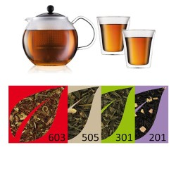 Assam Set BODUM - Théière à piston + 2 verres + 4 flacons de thés et infusions